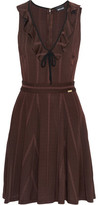 Just Cavalli Ruffled Ribbed Stretch-Knit Mini Dress