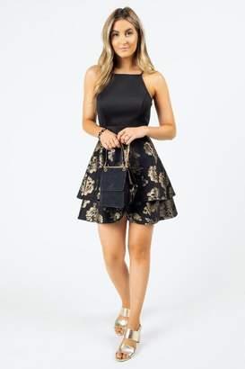 francesca's Halena Floral Gold Foil Dress - Black