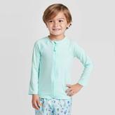 Cat & Jack Toddler Boys' Zip-Up Raglan Long Sleeve Rash Guard Swim Shirt - Cat & JackTM Turquoise