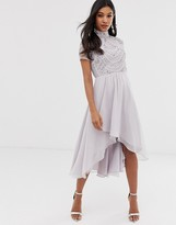 Asos Design DESIGN midi dress with short sleeve embellished bodice