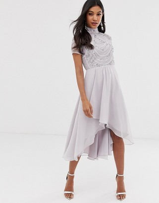 Asos DESIGN midi dress with short sleeve embellished bodice