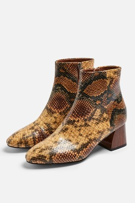 Topshop Womens Babe Snake Heeled Boots - Yellow