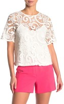 Lace Short Sleeve Tie Back Top