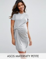 Asos Petite T-Shirt Dress With Gathered Front