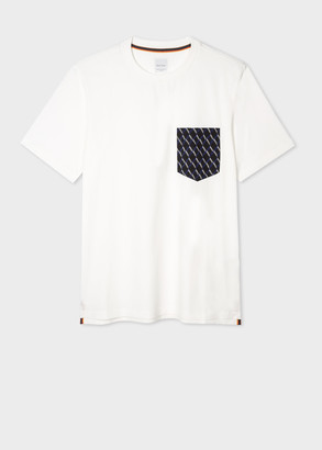 Men's White Organic Cotton T-Shirt With Contrast Pocket