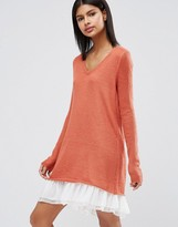 Asos Premium Sweater Dress in Mohair with Woven Hem