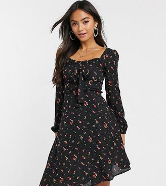 Wild Honey tea dress with square neck and asymmetric hem
