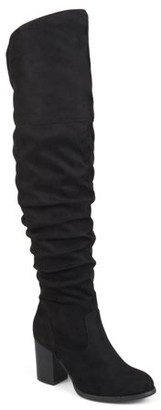 Brinley Co. Women's Ruched Stacked Heel Faux Suede Over-the-knee Boots