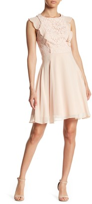 Nanette Lepore Chiffon Ruffle Lace Dress