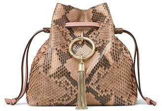 Jimmy Choo Python Callie Drawstring Shoulder Bag