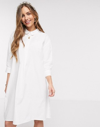 JDY oversized shirt midi dress in white