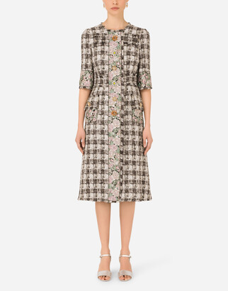 Dolce & Gabbana Wool Tweed Coat With Jacquard Details