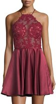 La Femme Halter-Neck Sleeveless Open-Back Lace Cocktail Dress