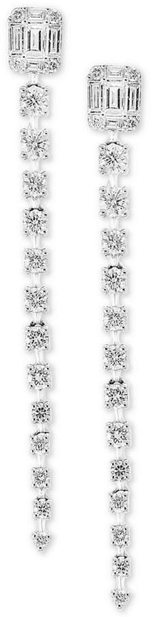 Effy Pave Classica by Diamond Linear Drop Earrings (7/8 ct. t.w.) in 14k White Gold
