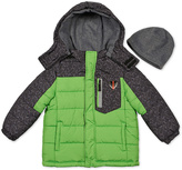 London Fog Green Geometric Puffer Coat & Beanie - Infant