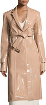 Calvin Klein Patent Leather Belted Trench Coat, Beige