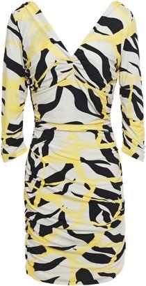 Roberto Cavalli Ruched Printed Stretch-jersey Mini Dress
