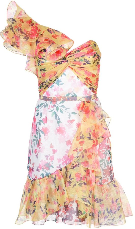 Marchesa Notte Floral Print Ruffled Dress