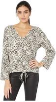 BB Dakota Purr My Last Email Cheetah Print Hacci V-Neck (Tan) Women's Clothing