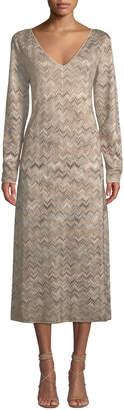 Missoni Long-Sleeve V-Neck Chevron Knit Dress