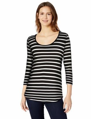 Amazon Essentials Women's 3/4 Sleeve Scoopneck Tunic French Black M