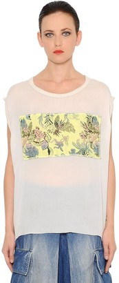 Marna Ro Brocade Embellished Silk Chiffon Top