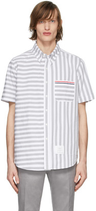 Thom Browne Grey and White University Stripe Shirt