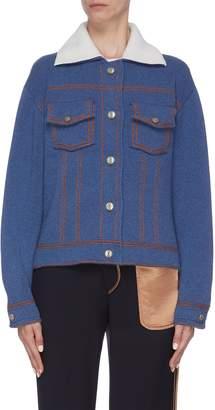 Barrie Colourblock collar cashmere-cotton knit jacket