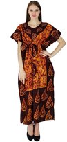SEASHORE Cotton Printed Cover Up Plus Size Women Casual Long Kaftan Boho Hippy Dress