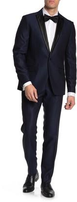 Savile Row Co Slim Fit Peak Lapel Micro Check Satin Lapel 2-Piece Tuxedo