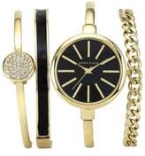 Anne Klein Ladies Yellow Goldtone and Black Watch Set