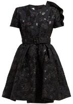 Prada Bouquet-brocade Flared Mini Dress - Womens - Black