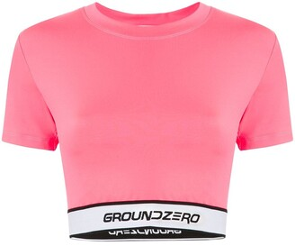 Ground Zero Stitched Logo Cropped Top