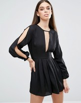 AX Paris V Neck Split Sleeve Romper With T Bar