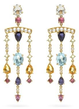 Dubini Theodora Diamond & 18kt Gold Chandelier Earrings - Multi