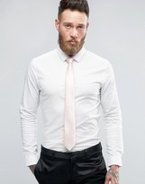 Asos WEDDING Skinny Shirt In White With Pink Tie SAVE