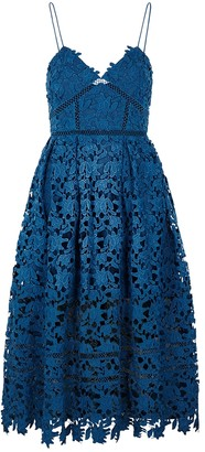 Self-Portrait Azaelea blue guipure lace midi dress