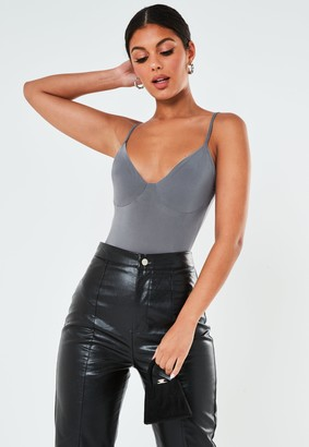 Missguided Petite Charcoal Slinky Seam Strappy Bodysuit