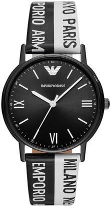 Emporio Armani Limited Edition Black & White Logo Leather Strap Watch 41mm