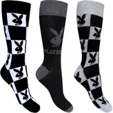 Playboy Men's Monochrome Black & White Bunny Socks (3 Pair Pack)