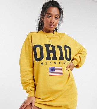 ASOS DESIGN Petite oversized sweatshirt with ohio logo in mustard
