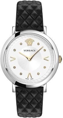 Versace Women's Pop Chic Lady Leather Strap Watch, 36mm