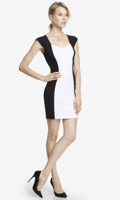 Express Color Block Back Cut-Out Ponte Knit Dress