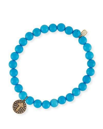 Sydney Evan 6mm Beaded Blue Turquoise Bracelet with Diamond Cross Charm