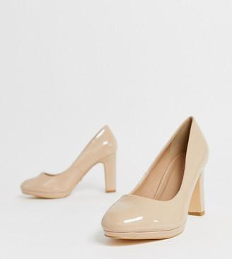 Simply Be Extra Wide Fit Simply Be extra wide fit Abigail heeled pumps in nude-Beige