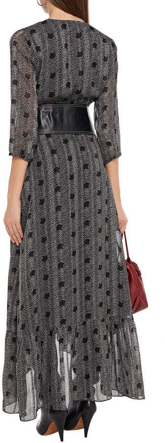 Thumbnail for your product : BA&SH Pisy Printed Metallic Jacquard Maxi Wrap Dress