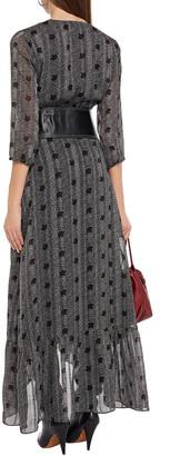 BA&SH Pisy Printed Metallic Jacquard Maxi Wrap Dress