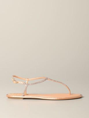 Rene Caovilla Flat Sandals Sandal With All-over Rhinestones