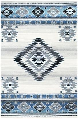 "nuLoom Blue Geometric Boho Rug - 5' x 7'5"""
