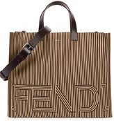 Fendi Sand Striped Canvas Tote